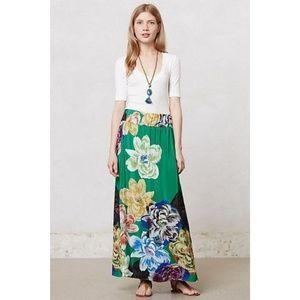 { Anthropologie } Cimiez Maxi Skirt Silk Floral